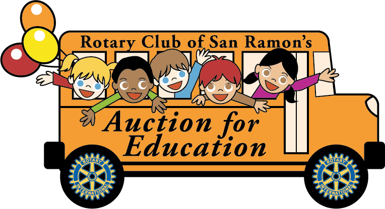 bus with children saying rotary club of San Ramon s Auction for Education