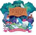picture of a forest with magical creatures like unicorn and gnome words say Enchanted Forest book Fair